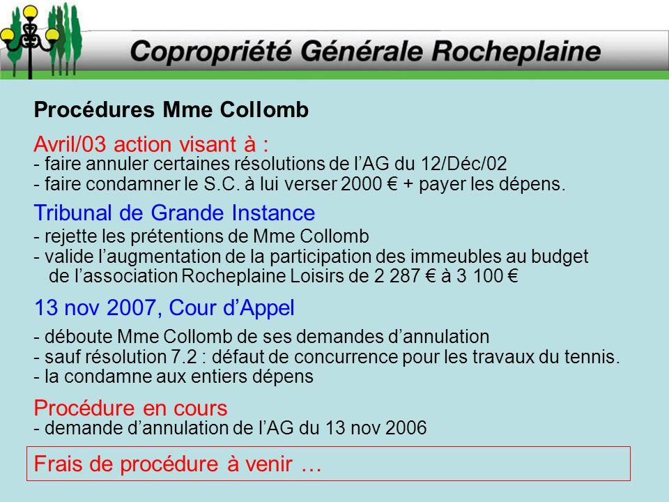 Procédures Mme Collomb Avril/03 action visant à : - faire annuler certaines résolutions de lAG du 12/Déc/02 - faire condamner le S.C. à lui verser 200