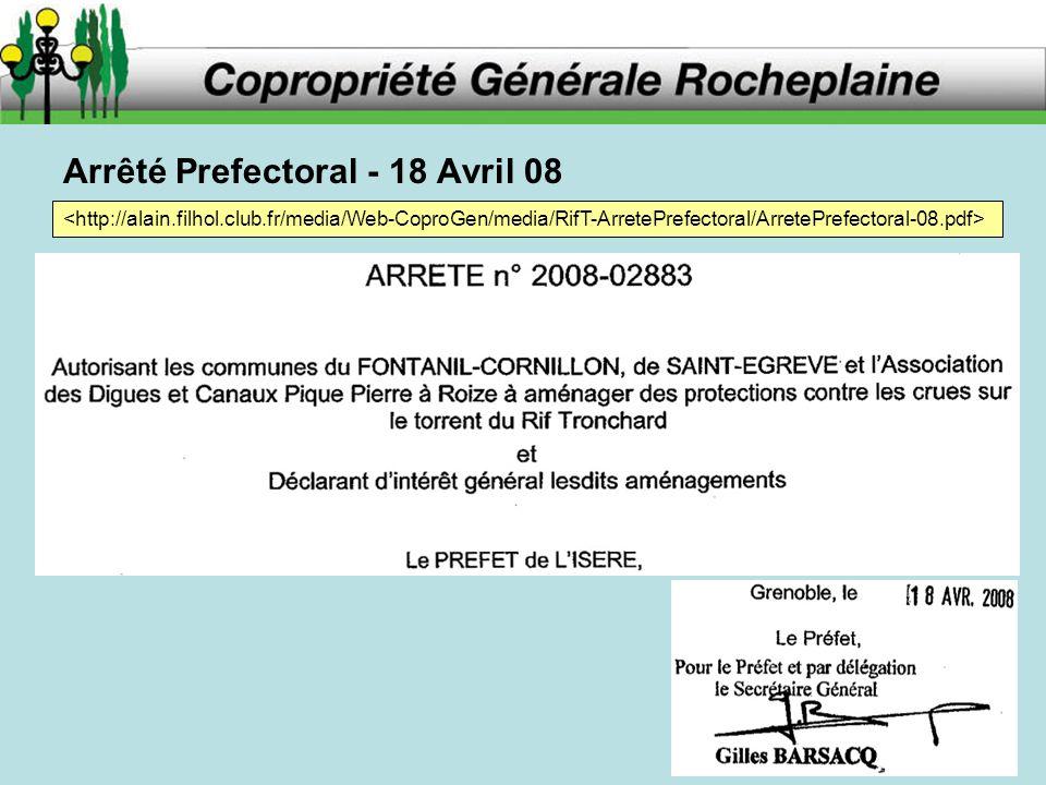 Arrêté Prefectoral - 18 Avril 08