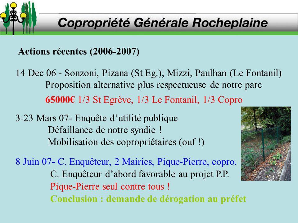 Actions récentes (2006-2007) 14 Dec 06 - Sonzoni, Pizana (St Eg.); Mizzi, Paulhan (Le Fontanil) Proposition alternative plus respectueuse de notre parc 3-23 Mars 07- Enquête dutilité publique Défaillance de notre syndic .