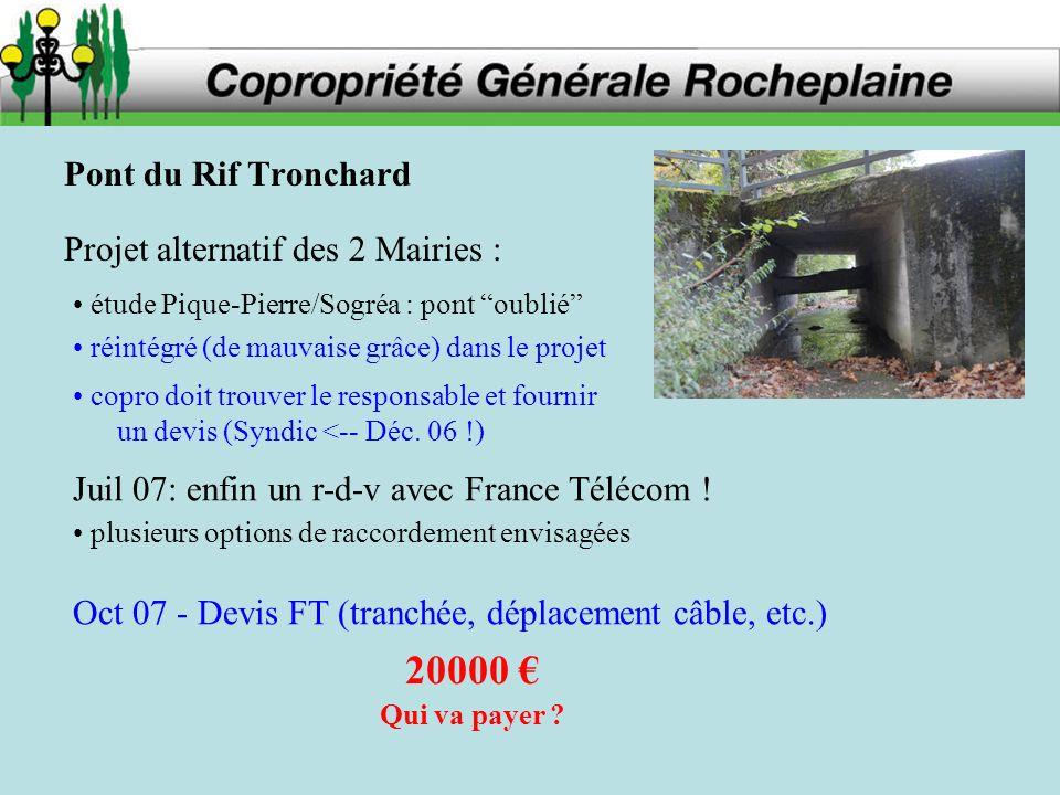 Pont du Rif Tronchard Projet alternatif des 2 Mairies : copro doit trouver le responsable et fournir un devis (Syndic <-- Déc.