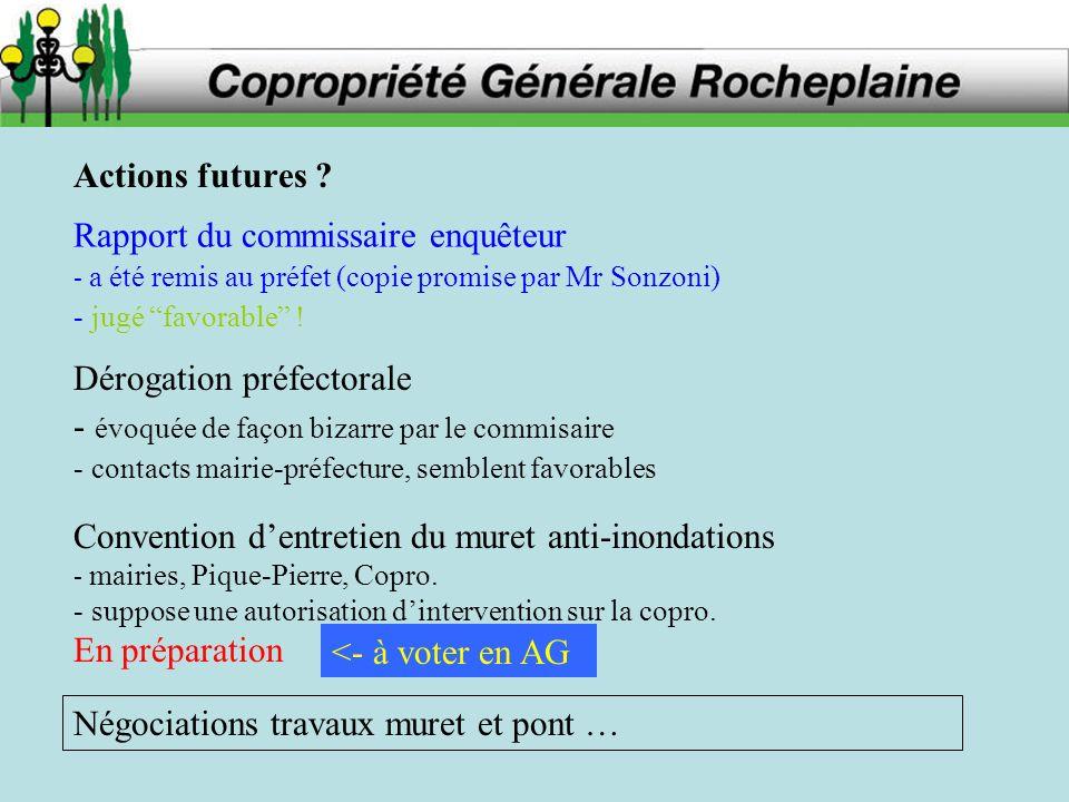 Convention dentretien du muret anti-inondations - mairies, Pique-Pierre, Copro. - suppose une autorisation dintervention sur la copro. En préparation