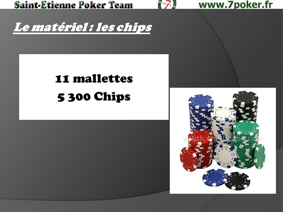 Le matériel : les chips 11 mallettes 5 300 Chips