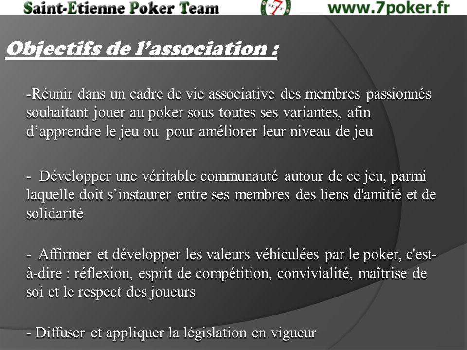 Objectifs de lassociation : -Réunir dans un cadre de vie associative des membres passionnés souhaitant jouer au poker sous toutes ses variantes, afin dapprendre le jeu ou pour améliorer leur niveau de jeu - Développer une véritable communauté autour de ce jeu, parmi laquelle doit sinstaurer entre ses membres des liens d amitié et de solidarité - Affirmer et développer les valeurs véhiculées par le poker, c est- à-dire : réflexion, esprit de compétition, convivialité, maîtrise de soi et le respect des joueurs - Diffuser et appliquer la législation en vigueur