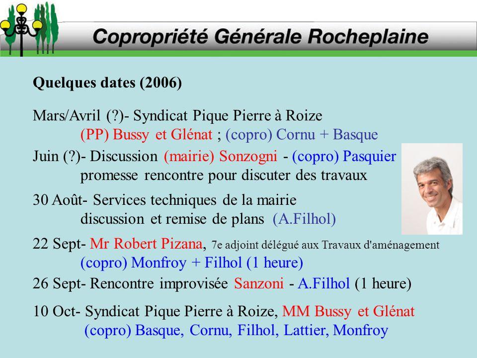 Quelques dates (2006) Mars/Avril (?)- Syndicat Pique Pierre à Roize (PP) Bussy et Glénat ; (copro) Cornu + Basque Juin (?)- Discussion (mairie) Sonzog