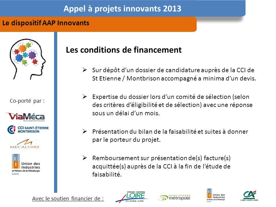 Avec le soutien financier de : Co-porté par : Appel à projets innovants 2013 Le dispositif AAP Innovants Les conditions de financement Sur dépôt dun dossier de candidature auprès de la CCI de St Etienne / Montbrison accompagné a minima dun devis.