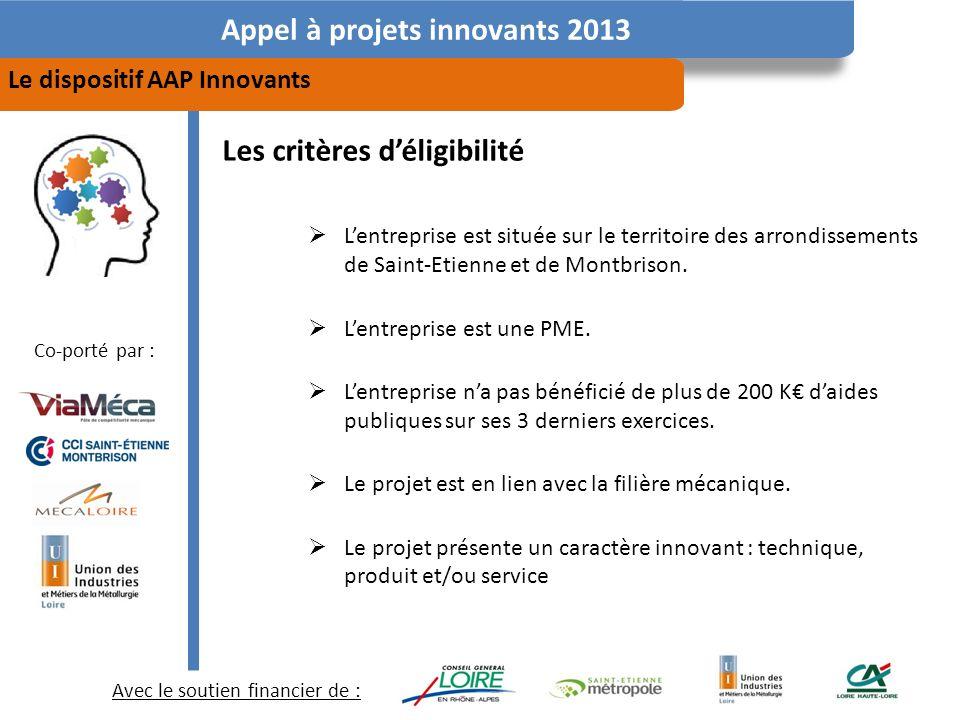 Avec le soutien financier de : Co-porté par : Appel à projets innovants 2013 Le dispositif AAP Innovants Les critères déligibilité Lentreprise est située sur le territoire des arrondissements de Saint-Etienne et de Montbrison.