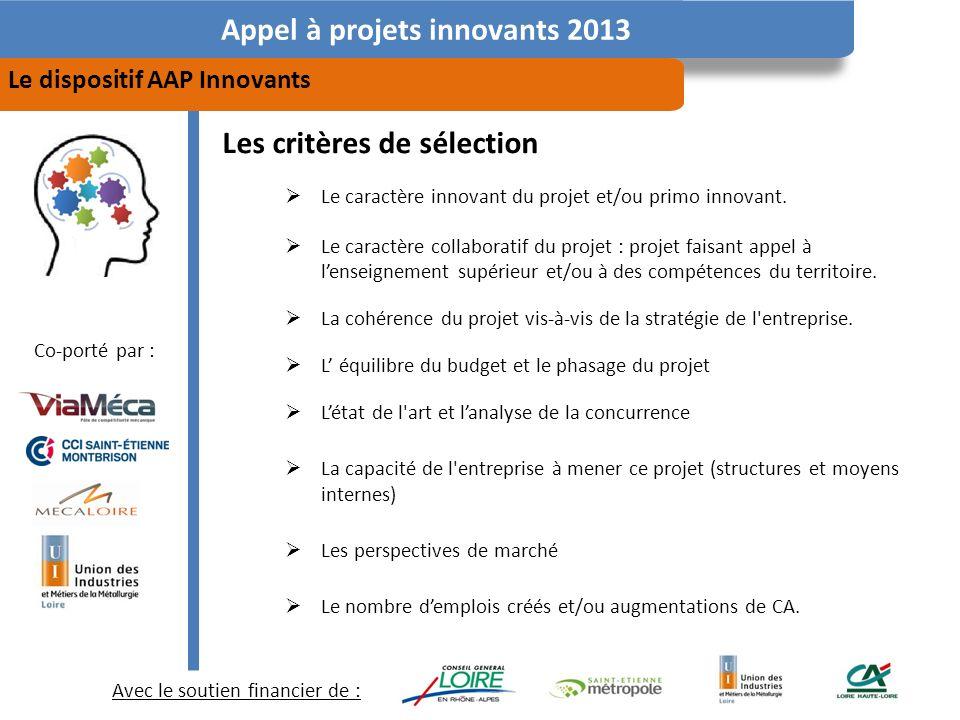 Avec le soutien financier de : Co-porté par : Appel à projets innovants 2013 Le dispositif AAP Innovants Les critères de sélection Le caractère innovant du projet et/ou primo innovant.