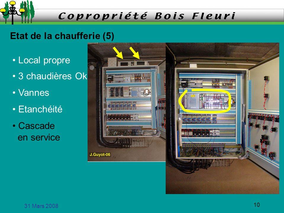 31 Mars 2008 10 Etat de la chaufferie (5) Local propre 3 chaudières Ok Vannes Etanchéité Cascade en service