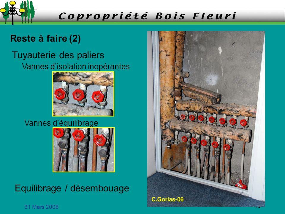 31 Mars 2008 13 Reste à faire (2) Vannes disolation inopérantes Vannes déquilibrage Tuyauterie des paliers Equilibrage / désembouage