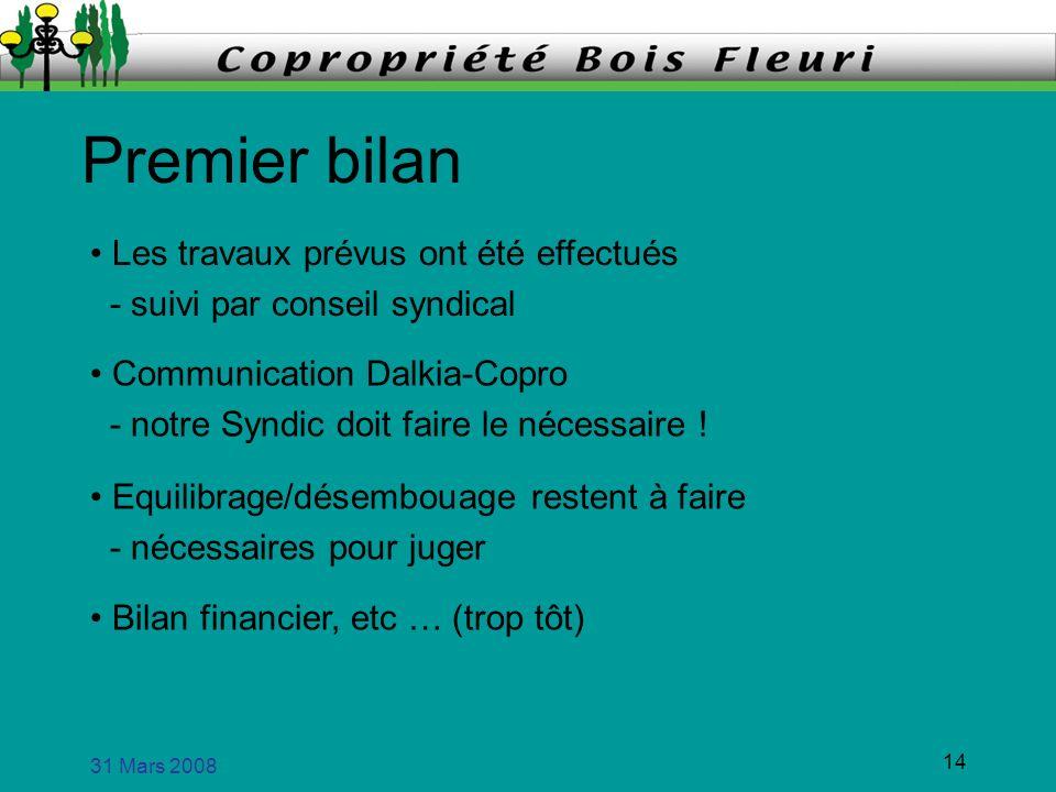 31 Mars 2008 14 Premier bilan Les travaux prévus ont été effectués - suivi par conseil syndical Communication Dalkia-Copro - notre Syndic doit faire l