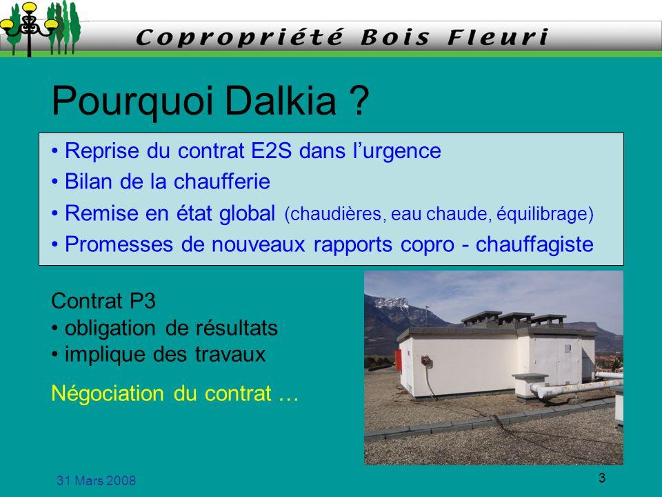 31 Mars 2008 3 Pourquoi Dalkia ? Reprise du contrat E2S dans lurgence Bilan de la chaufferie Remise en état global (chaudières, eau chaude, équilibrag
