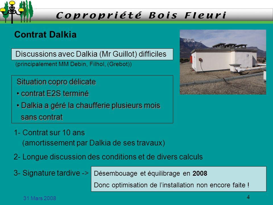 31 Mars 2008 4 Contrat Dalkia Situation copro délicate contrat E2S terminé Dalkia a géré la chaufferie plusieurs mois sans contrat Situation copro dél