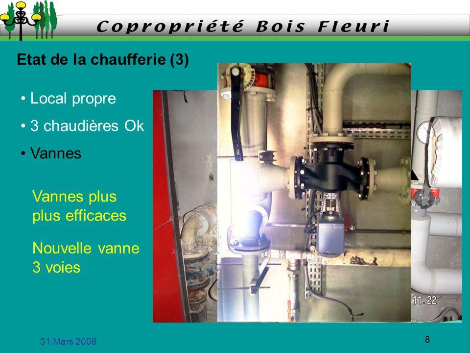 31 Mars 2008 8 Etat de la chaufferie (3) Local propre 3 chaudières Ok Vannes plus plus efficaces Vannes Nouvelle vanne 3 voies