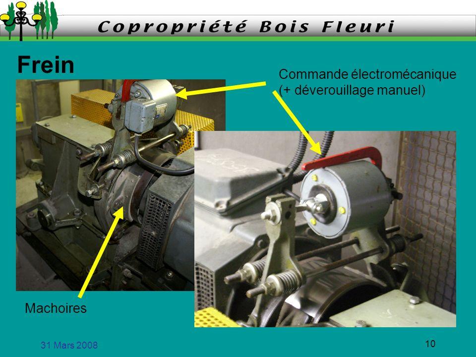 31 Mars 2008 10 Frein Commande électromécanique (+ déverouillage manuel) Machoires
