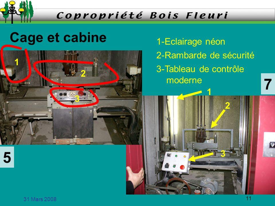 31 Mars 2008 11 Cage et cabine 5 7 1 2 1 3 1-Eclairage néon 2-Rambarde de sécurité 3-Tableau de contrôle moderne 3 2
