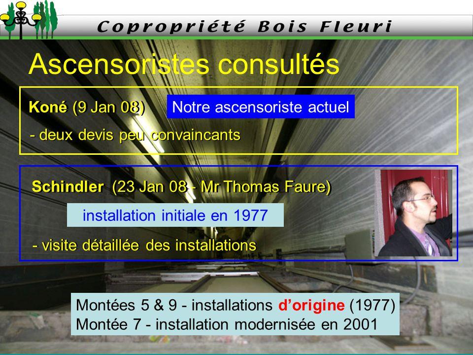 31 Mars 2008 2 Ascensoristes consultés Koné (9 Jan 08) Notre ascensoriste actuel - deux devis peu convaincants Schindler (23 Jan 08 - Mr Thomas Faure)
