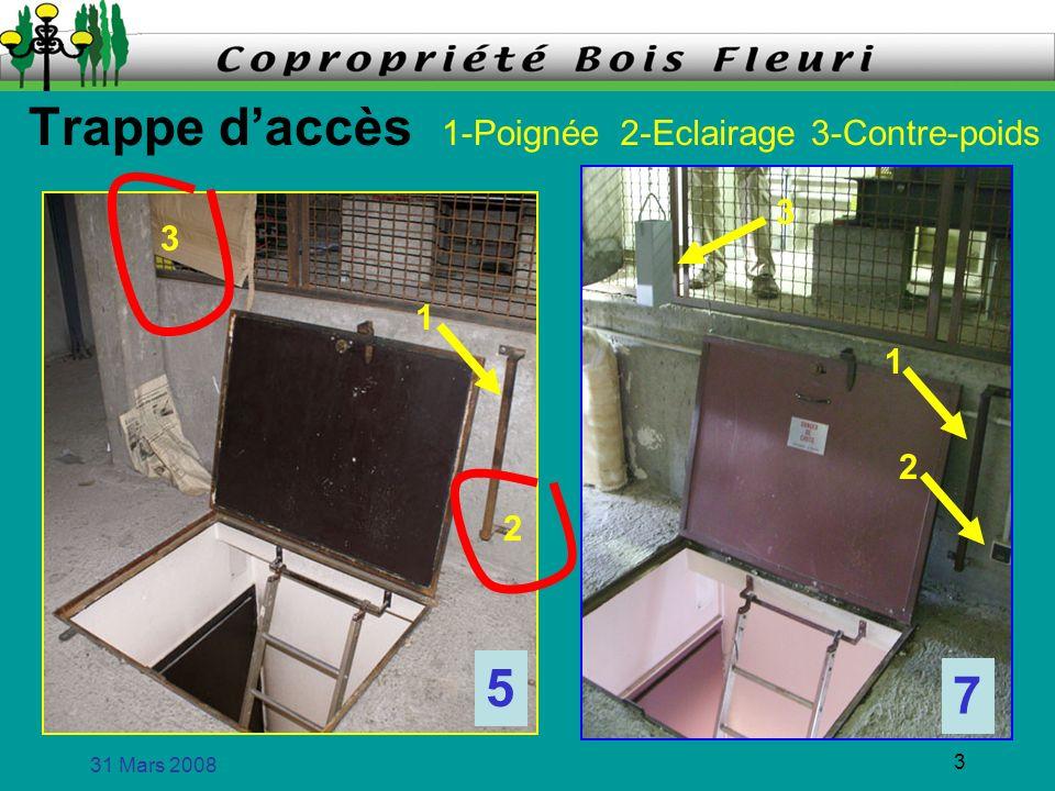 31 Mars 2008 3 Trappe daccès 7 1-Poignée2-Eclairage3-Contre-poids 1 2 3 5 1 2 3
