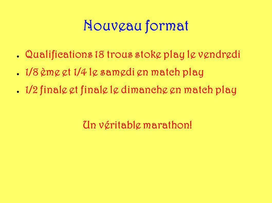 Nouveau format Qualifications 18 trous stoke play le vendredi 1/8 ème et 1/4 le samedi en match play 1/2 finale et finale le dimanche en match play Un