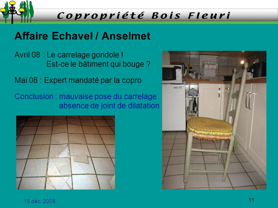 15 déc. 2008 11 Affaire Echavel / Anselmet Avril 08 : Le carrelage gondole ! Est-ce le bâtiment qui bouge ? Mai 08 : Expert mandaté par la copro Concl