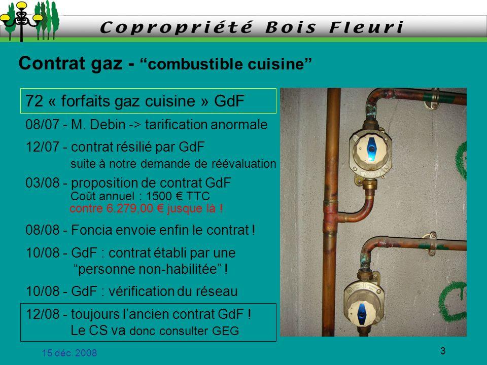 15 déc. 2008 3 Contrat gaz - combustible cuisine 72 « forfaits gaz cuisine » GdF 08/07 - M. Debin -> tarification anormale 12/07 - contrat résilié par