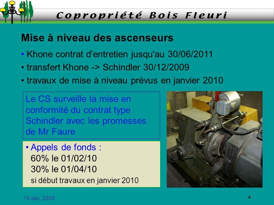 15 déc. 2008 4 Mise à niveau des ascenseurs Khone contrat dentretien jusqu'au 30/06/2011 transfert Khone -> Schindler 30/12/2009 travaux de mise à niv