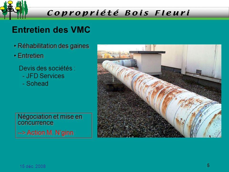 15 déc. 2008 5 Entretien des VMC Réhabilitation des gaines Entretien Réhabilitation des gaines Entretien Négociation et mise en concurrence --> Action