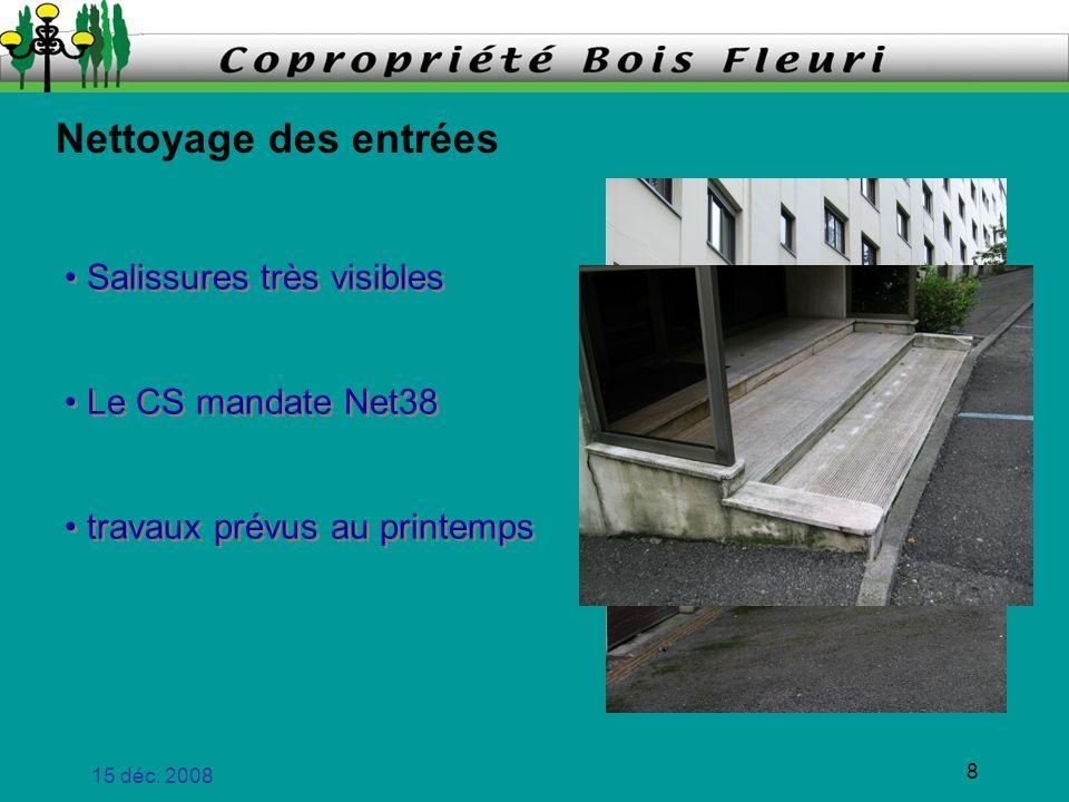 15 déc. 2008 8 Nettoyage des entrées travaux prévus au printemps Le CS mandate Net38 Salissures très visibles