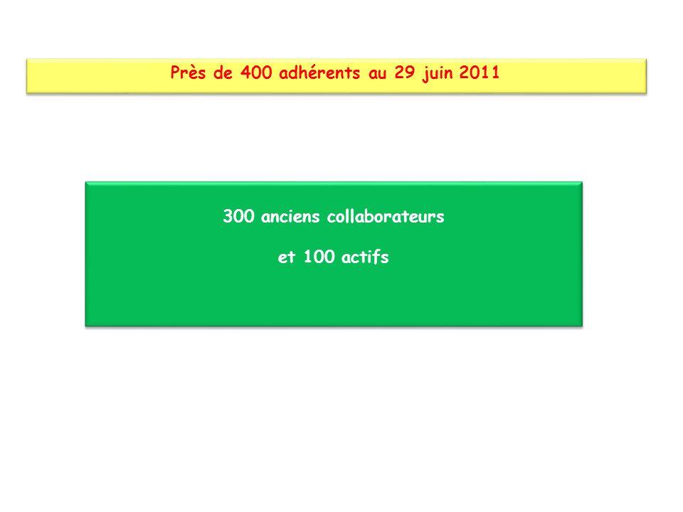 300 anciens collaborateurs et 100 actifs 300 anciens collaborateurs et 100 actifs Près de 400 adhérents au 29 juin 2011