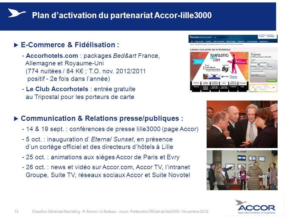 13Direction Générale Marketing - R Simon / JJ Buteau - Accor, Partenaire Officiel de lille3000 - Novembre 2012 Plan dactivation du partenariat Accor-l