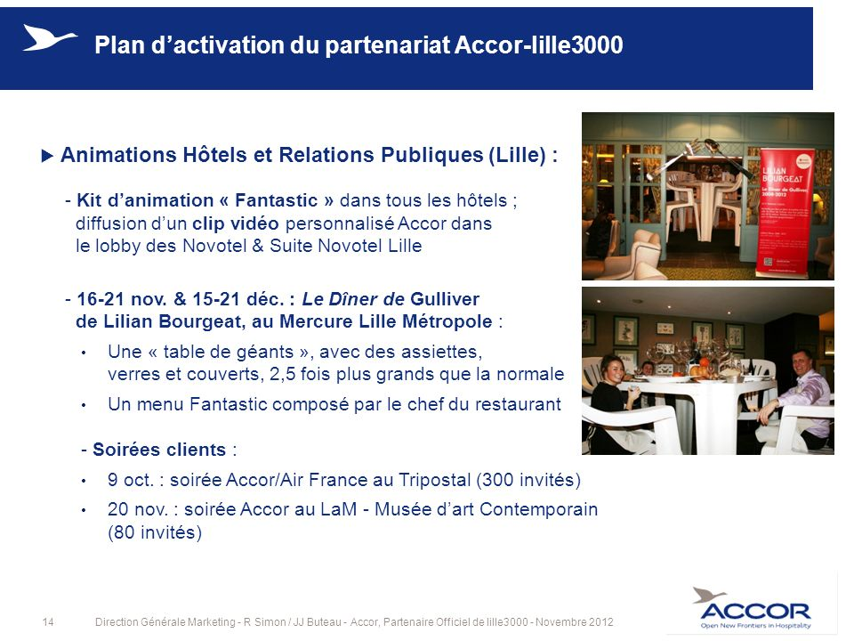 14Direction Générale Marketing - R Simon / JJ Buteau - Accor, Partenaire Officiel de lille3000 - Novembre 2012 Plan dactivation du partenariat Accor-l