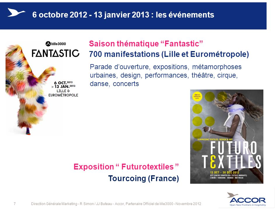 8Direction Générale Marketing - R Simon / JJ Buteau - Accor, Partenaire Officiel de lille3000 - Novembre 2012 Le Tripostal : Phantasia (105 000 visiteurs) La Gare Saint Sauveur : Fantastic Attraction (133 000 visiteurs) 6 octobre 2012 - 13 janvier 2013 : la saison Fantastic Des expositions 6 octobre : La parade douverture Costumes fantastiques, fanfares et harmonies, feux dartifices, DJs (300 000 spectateurs)