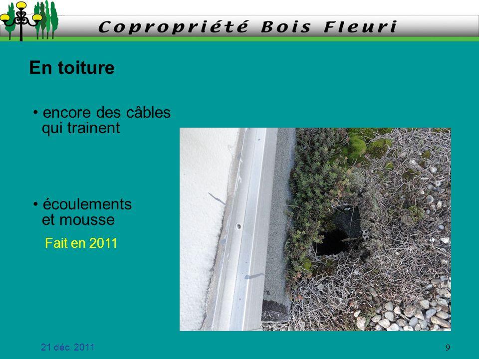 21 déc.2011 10 Chauffage Etiquetage des vannes prévu au contrat (2007) Cest fait .