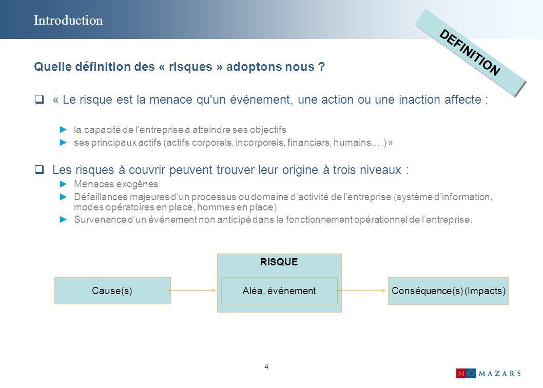 4 RISQUE Conséquence(s) (Impacts) Introduction Quelle définition des « risques » adoptons nous ? « Le risque est la menace qu'un événement, une action