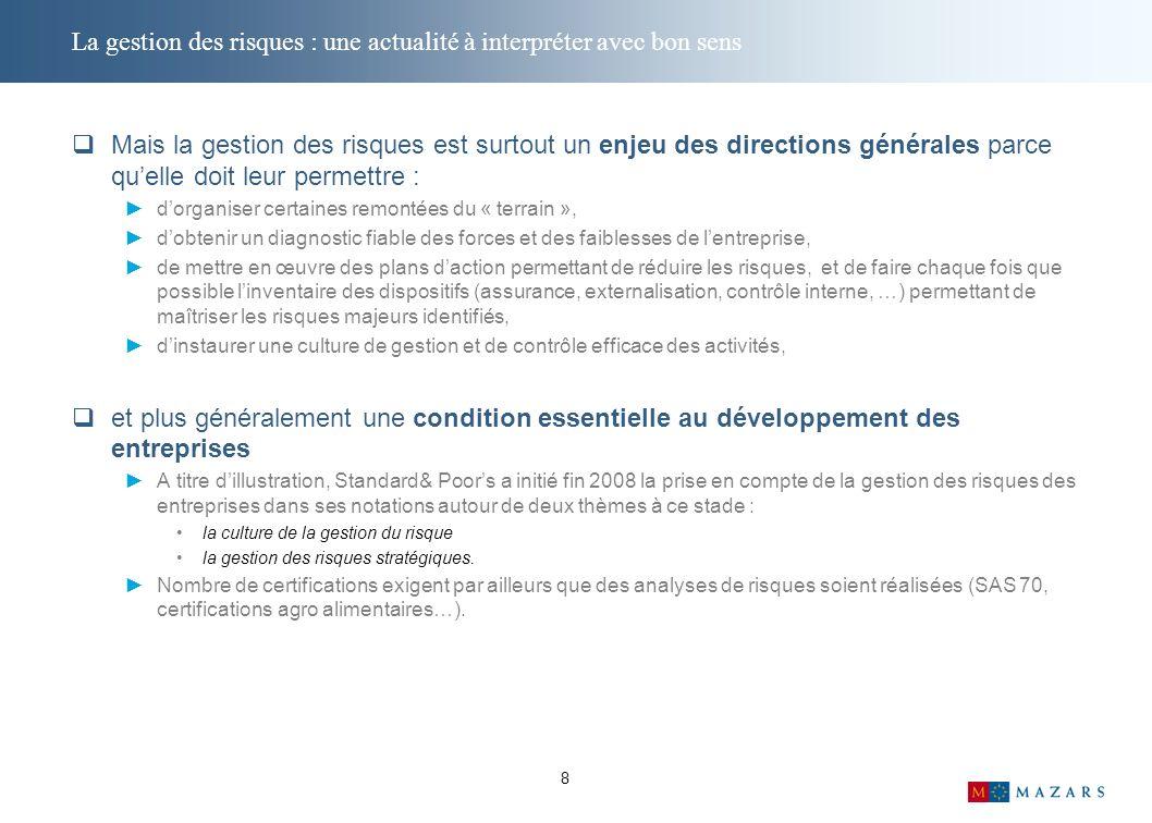 Retour sur lenquête sur la gestion des risques dans le secteur Agro français