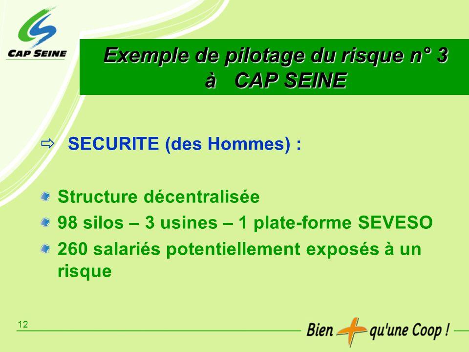 12 Exemple de pilotage du risque n° 3 à CAP SEINE SECURITE (des Hommes) : Structure décentralisée 98 silos – 3 usines – 1 plate-forme SEVESO 260 salar