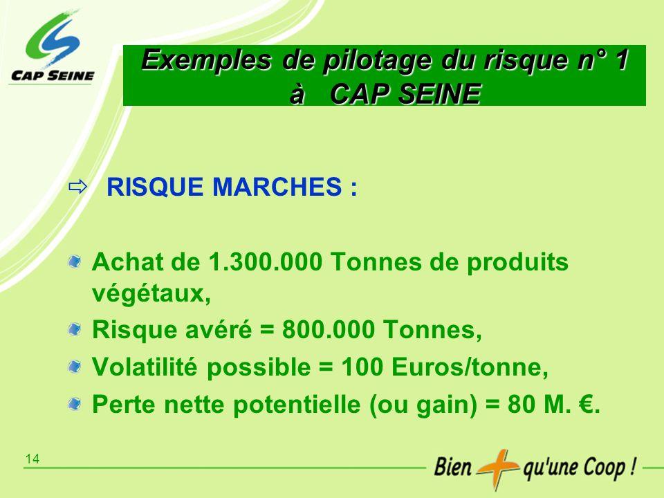 14 Exemples de pilotage du risque n° 1 à CAP SEINE RISQUE MARCHES : Achat de 1.300.000 Tonnes de produits végétaux, Risque avéré = 800.000 Tonnes, Vol