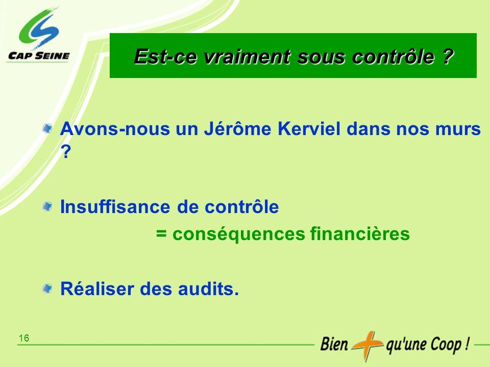 16 Est-ce vraiment sous contrôle ? Avons-nous un Jérôme Kerviel dans nos murs ? Insuffisance de contrôle = conséquences financières Réaliser des audit