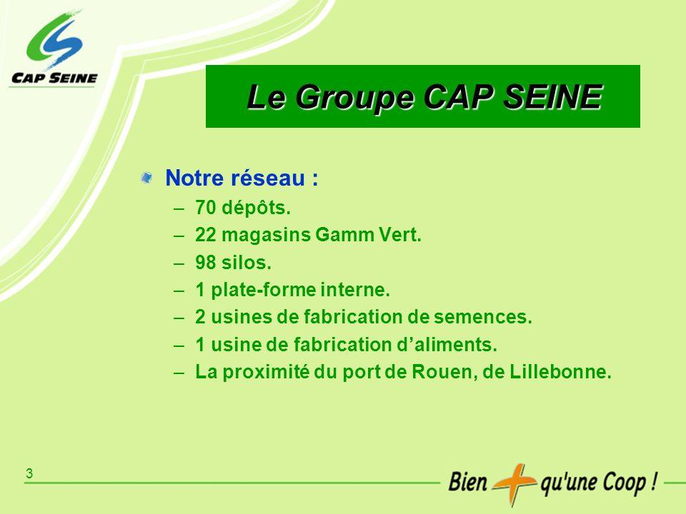 3 Le Groupe CAP SEINE Notre réseau : –70 dépôts. –22 magasins Gamm Vert. –98 silos. –1 plate-forme interne. –2 usines de fabrication de semences. –1 u