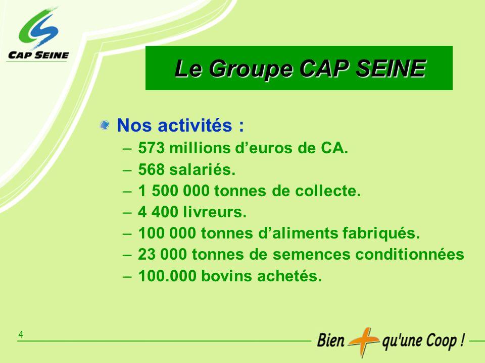 4 Le Groupe CAP SEINE Nos activités : –573 millions deuros de CA. –568 salariés. –1 500 000 tonnes de collecte. –4 400 livreurs. –100 000 tonnes dalim