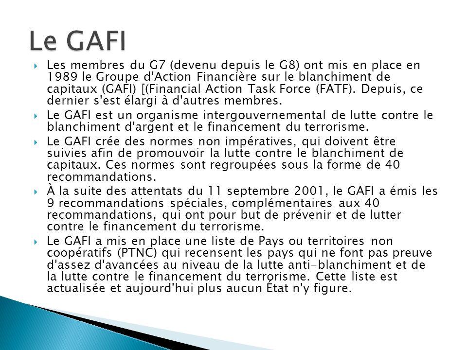 Les membres du G7 (devenu depuis le G8) ont mis en place en 1989 le Groupe d'Action Financière sur le blanchiment de capitaux (GAFI) [(Financial Actio