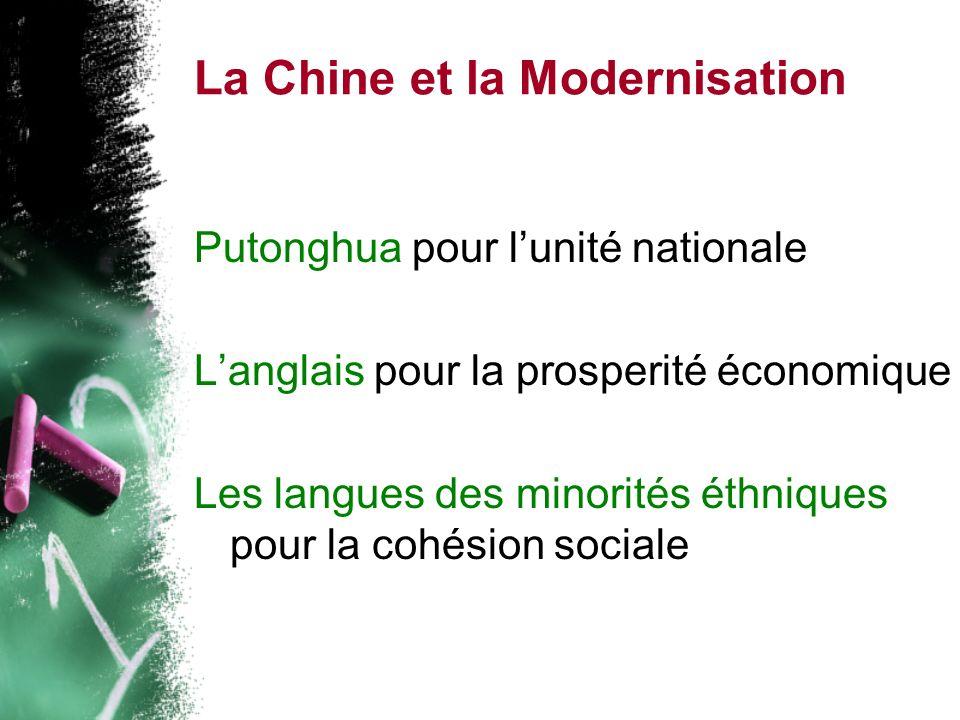 La Chine et la Modernisation Putonghua pour lunité nationale Langlais pour la prosperité économique Les langues des minorités éthniques pour la cohésion sociale