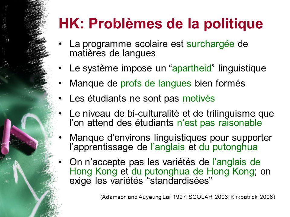 HK: Problèmes de la politique La programme scolaire est surchargée de matières de langues Le système impose un apartheid linguistique Manque de profs de langues bien formés Les étudiants ne sont pas motivés Le niveau de bi-culturalité et de trilinguisme que lon attend des étudiants nest pas raisonable Manque denvirons linguistiques pour supporter lapprentissage de langlais et du putonghua On naccepte pas les variétés de langlais de Hong Kong et du putonghua de Hong Kong; on exige les variétés standardisées (Adamson and Auyeung Lai, 1997; SCOLAR, 2003; Kirkpatrick, 2006 )