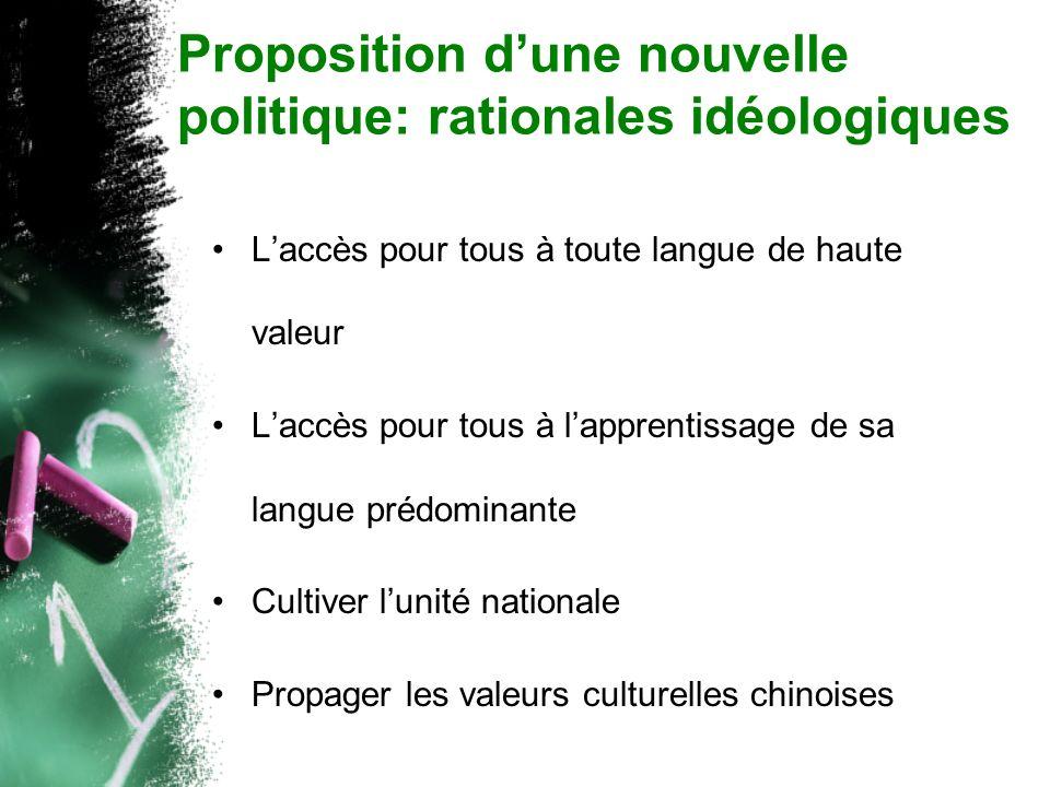 Proposition dune nouvelle politique: rationales idéologiques Laccès pour tous à toute langue de haute valeur Laccès pour tous à lapprentissage de sa langue prédominante Cultiver lunité nationale Propager les valeurs culturelles chinoises