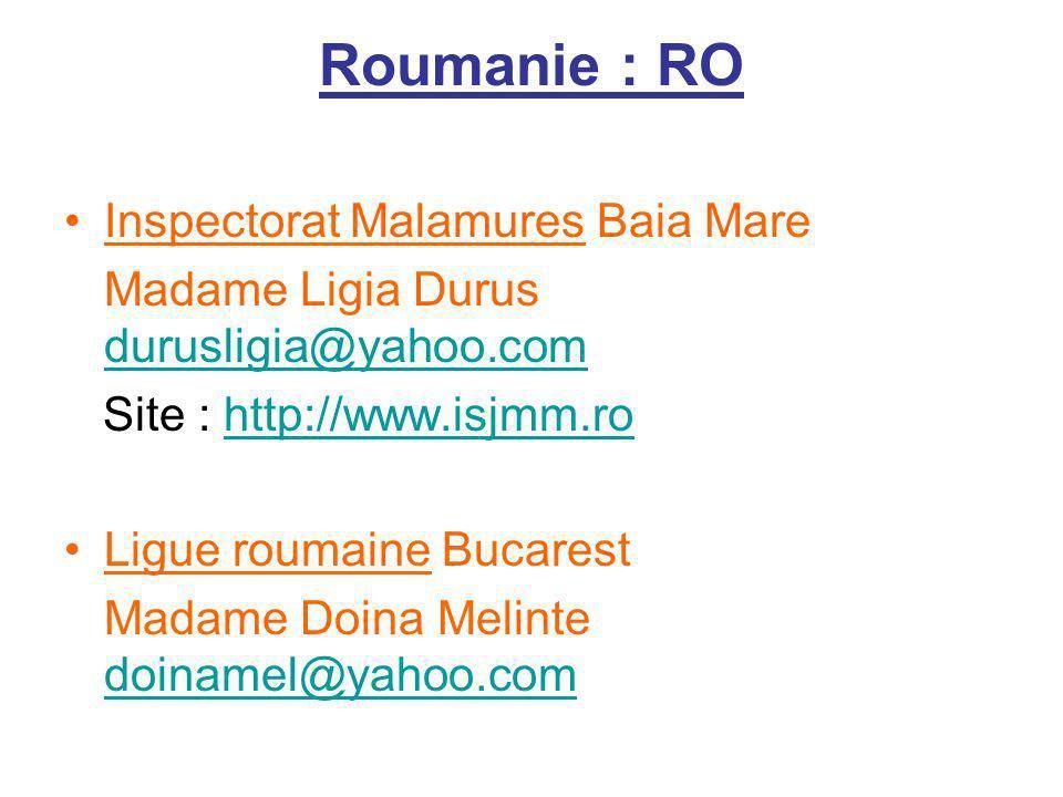 Roumanie : RO Inspectorat Malamures Baia Mare Madame Ligia Durus durusligia@yahoo.com durusligia@yahoo.com Site : http://www.isjmm.rohttp://www.isjmm.