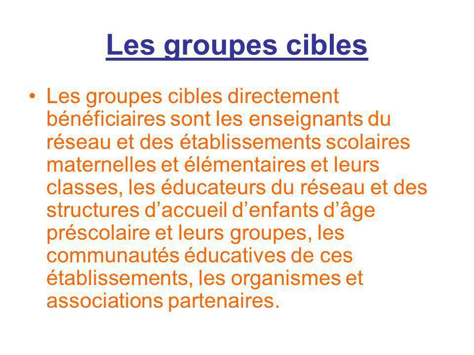 Les groupes cibles Les groupes cibles directement bénéficiaires sont les enseignants du réseau et des établissements scolaires maternelles et élémenta