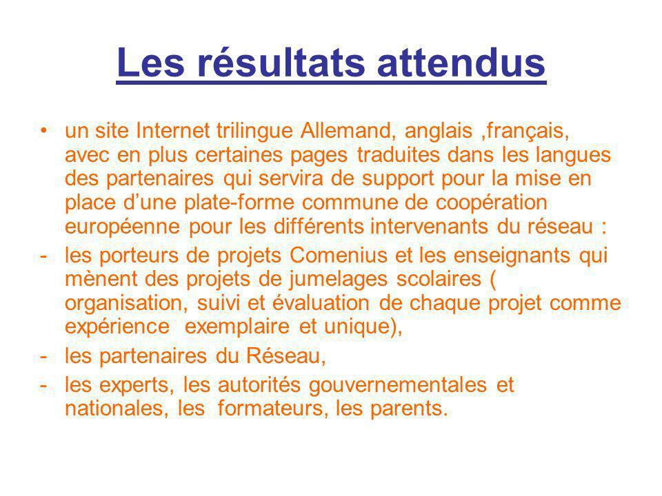 Les résultats attendus un site Internet trilingue Allemand, anglais,français, avec en plus certaines pages traduites dans les langues des partenaires