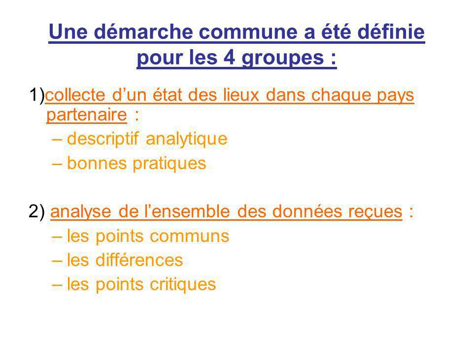 Une démarche commune a été définie pour les 4 groupes : 1)collecte dun état des lieux dans chaque pays partenaire : –descriptif analytique –bonnes pra