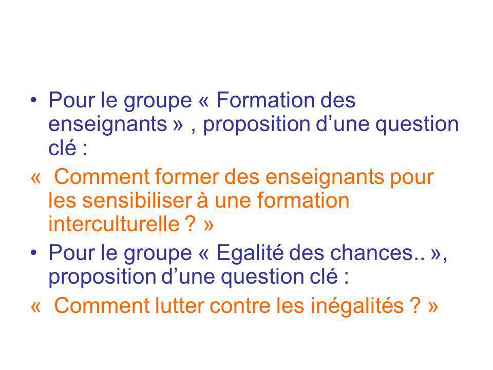 Pour le groupe « Formation des enseignants », proposition dune question clé : « Comment former des enseignants pour les sensibiliser à une formation i