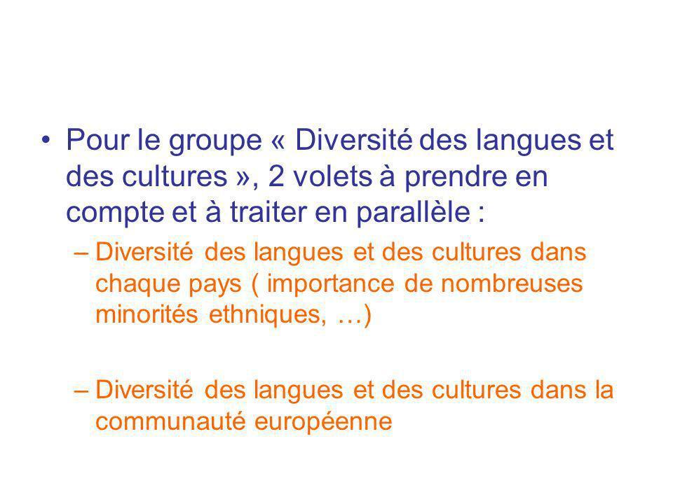 Pour le groupe « Diversité des langues et des cultures », 2 volets à prendre en compte et à traiter en parallèle : –Diversité des langues et des cultu