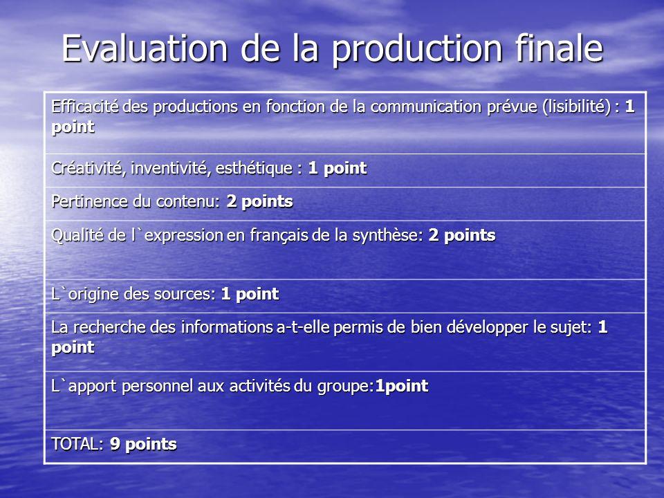 Evaluation de la production finale Efficacité des productions en fonction de la communication prévue (lisibilité) : 1 point Créativité, inventivité, e